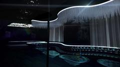 karaoke nightclub white light - stock illustration