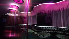 karaoke nightclub spotlight color mix - stock illustration
