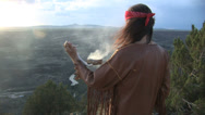 Stock Video Footage of Native American Does Smudging Sage Ceremony 5 in series