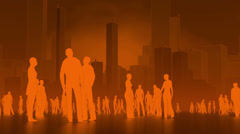 Orange crowd in the city, Walking and communicating people, business concept Stock Footage