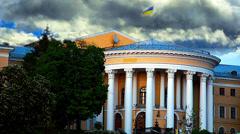 KIEV Ukraine Khreschatyk  October Palace Clouds Stock Footage