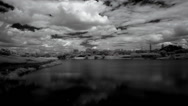 Stock Video Footage of InfraRed landscape: Movement of clouds over the reservoir. Donetsk, Ukraine