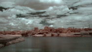 Stock Video Footage of InfraRed landscape: Movement of clouds over the reservoir. Donetsk, Ukraine,