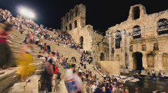 4K people leaving ancient theater of Herodion after performance Stock Footage