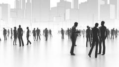 People in the city, Walking and communicating people, business concept Stock Footage