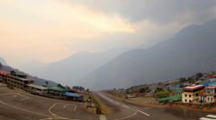 Timelapse sunset at the airport Lukla. Mountains Himalayas, Lukla village,  Stock Footage