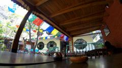 Hotel open air cafe. Kathmandu. Nepal, Full HD Stock Footage