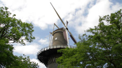 Traditional Dutch windmill in Leiden, Holland Stock Footage