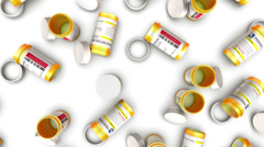 Dolly over the top of many Empty Pill Bottles Stock Footage