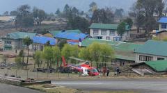 $LUKLA, NEPAL, Tenzing-Hillary Helicopter taking off Stock Footage