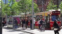 Tram leaving tram spot in den haag Stock Footage