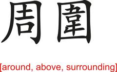 Chinese Sign for around, above, surrounding - stock illustration