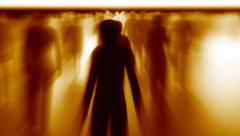 in the fiery crowd, Walking and communicating people, business concept - stock footage