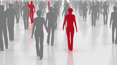 red gray crowd, Walking and communicating people, business concept - stock footage