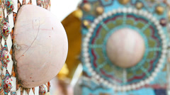 Decorative Arts and Design at the wall of temple in Thailand Stock Footage