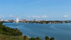 Wide angle view tropical Clearwater Beach inlet Stock Footage