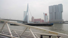 Rotterdam harbor with large boat Stock Footage