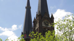 Church towers in Delft, Holland Stock Footage