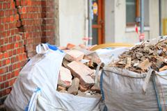 Stock Photo of full construction waste debris bags