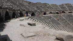 Ampitheatre in Turkey - Camera Pans Left to Right Stock Footage