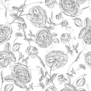 Beautiful Vintage Seamless Roses Background Stock Illustration
