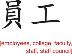 Chinese Sign for employees, college,faculty,staff,staff council - stock illustration