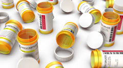 High angle up from single Empty Pill Bottle revealing many Bottles  Stock Footage