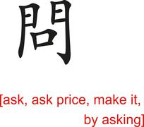 Chinese Sign for ask, ask price, make it, by asking Stock Illustration