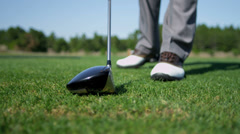 Golfer Placing Ball Tee Green Close Up Stock Footage