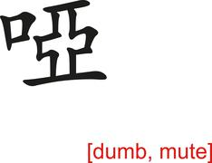 Chinese Sign for dumb, mute - stock illustration