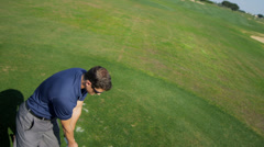 Caucasian Male Playing Golf Close Overhead View Stock Footage