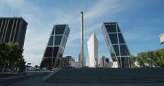 The Puerta De Europa (Gate of Europe) And Caja Madrid Obelisk, Madrid, Spain 4K Stock Footage