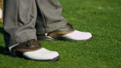 Close Up Feet Golf Shoes Male Golfer Stock Footage