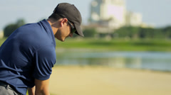 Caucasian Male Playing Golf Close Up Stock Footage