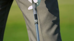 Close Up Hands Male Golfer Holding Club - stock footage