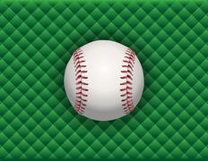 baseball illustration on a green checkered background - stock illustration