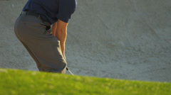 Golfer Using Sand Wedge Bunker - stock footage