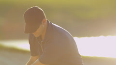 Close Up Male Golfer Playing Out Sand Bunker - stock footage