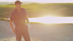 Professional Golfer Successful Shot Sand Bunker Stock Footage