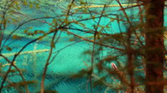 A clear blue lake in jiuzhaigou valley national park in china dolly shot Stock Footage