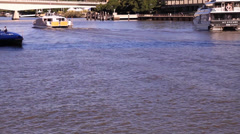 Public Ferries Cruise Through River Stock Footage