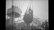 Military man in a pulley getting to the ship and driving away Stock Footage
