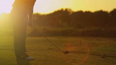 Male Caucasian Golfer Practicing Swing - stock footage