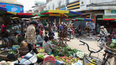 Cambodia, Southeast Asia, traditional market in Kratie, people, shopping Stock Footage