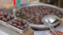 Brown preserved eggs on old street Stock Footage