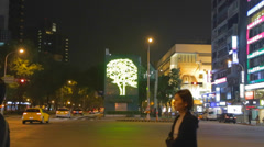 Illuminated tree on dunhua road Stock Footage