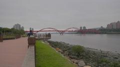 Promenade and red bridge in bali Stock Footage