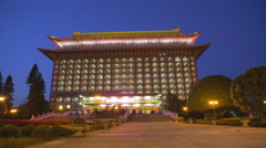 Grand hotel front evening Stock Footage