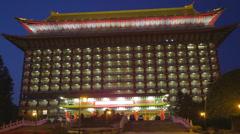 Medium - front grand hotel evening Stock Footage