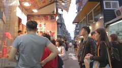 Many students walking in shida night market Stock Footage